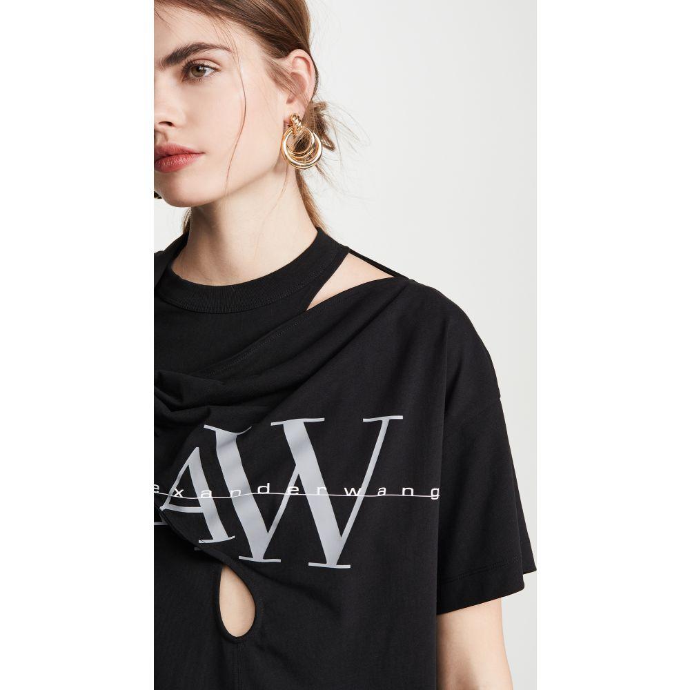 アレキサンダー ワン Alexander Wang レディース Tシャツ ロゴTシャツ トップス【Tie Neck Tee with Logo Print】Black