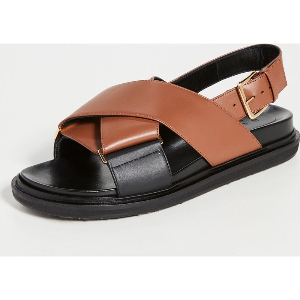 マルニ Marni レディース サンダル・ミュール シューズ・靴【Crisscross Fussbett Sandals】Maroon/Black