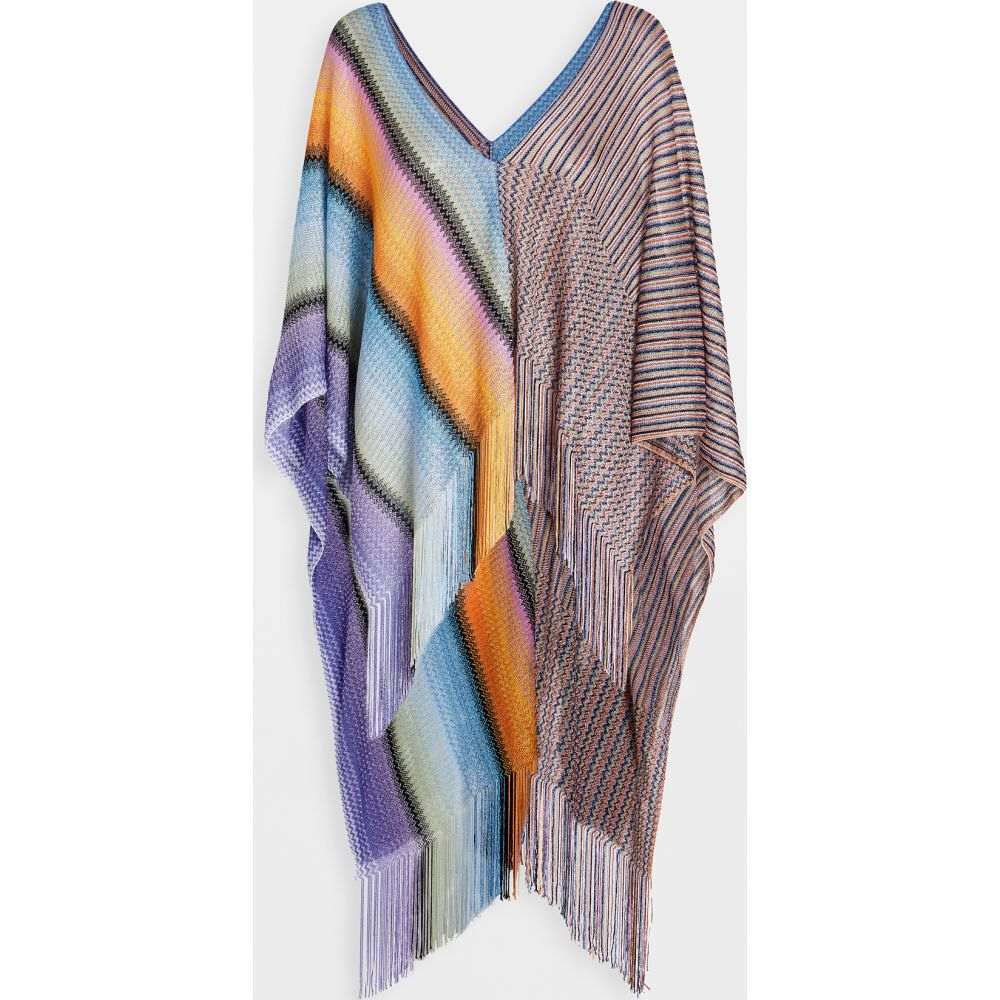 ミッソーニ Missoni レディース ポンチョ アウター【Stripes & Zigzag Poncho】Multi Yellow/Lavender