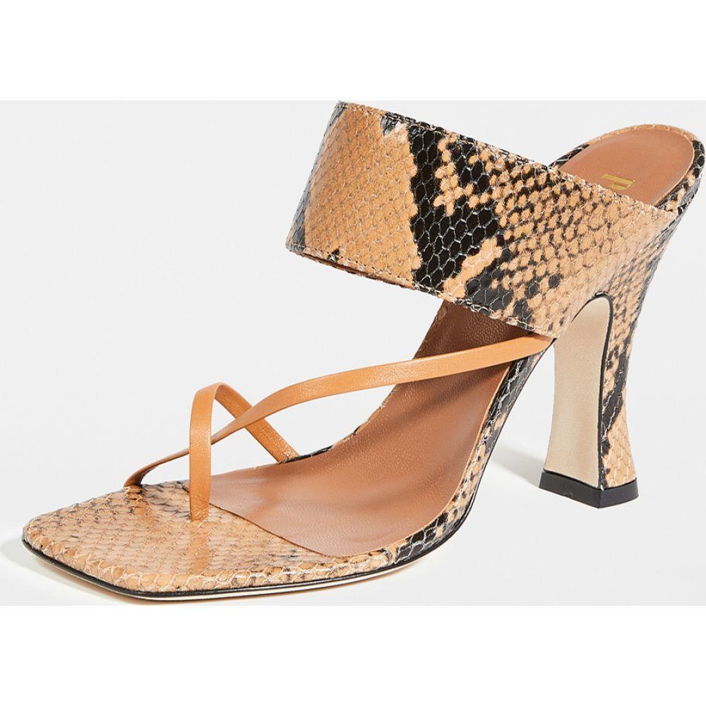 パリ テキサス Paris Texas レディース サンダル・ミュール シューズ・靴【Python Print Crossover Thong Sandals】Caramel