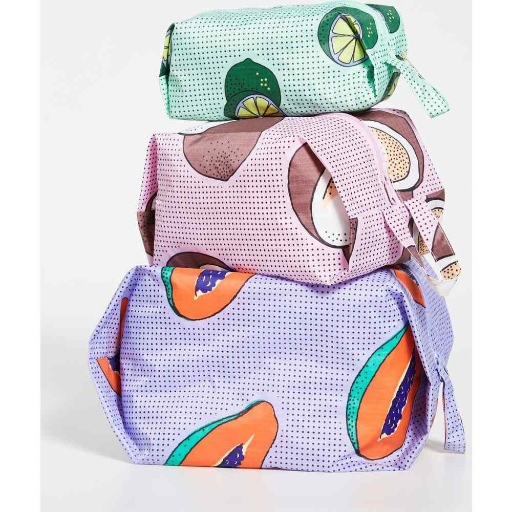 バグゥ BAGGU レディース ポーチ 【3D Zip Bag Set】Tropical Fruits