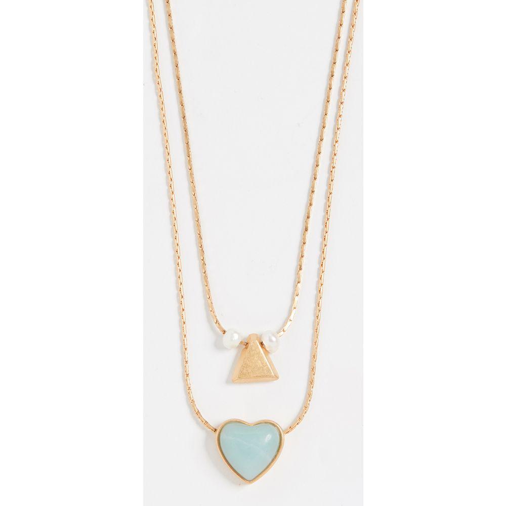 メイドウェル Madewell レディース ネックレス ハート ジュエリー・アクセサリー【Layered Stone Heart Necklace Set】Vintage Gold