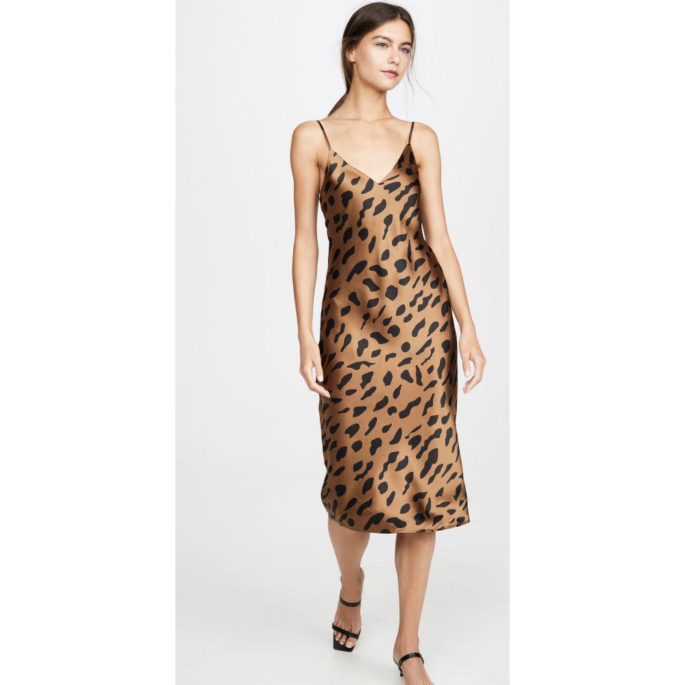 ラジャンス L'AGENCE レディース ワンピース スリップドレス Vネック ワンピース・ドレス【Jodie V Neck Slip Dress】Camel/Black Animal