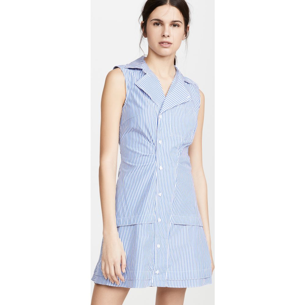 デレク ラム Derek Lam 10 Crosby レディース ワンピース ノースリーブ シャツワンピース ワンピース・ドレス【Satina Sleeveless Shirt Dress】Blue/White