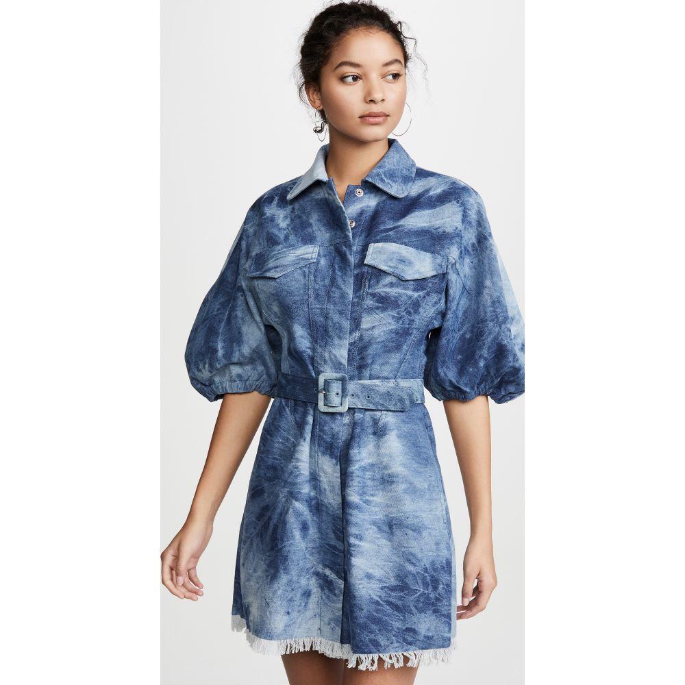 ディバイン ヘリテージ Divine Heritage レディース ワンピース ワンピース・ドレス【Raglan Sleeve Princess Seam Mini Dress】Recycled Washed Tie Dye Denim