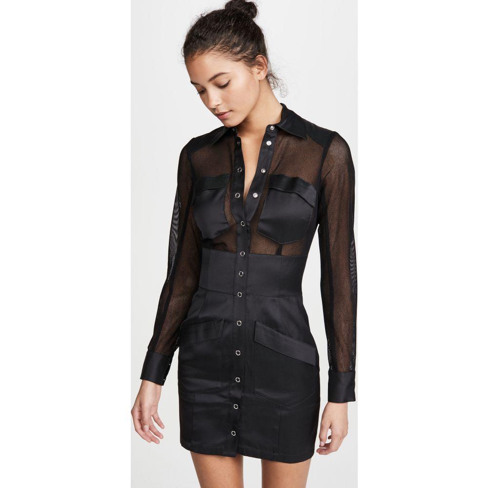 フルール ドゥ マル Fleur du Mal レディース ワンピース ワンピース・ドレス【Twill & Mesh Safari Dress】Black