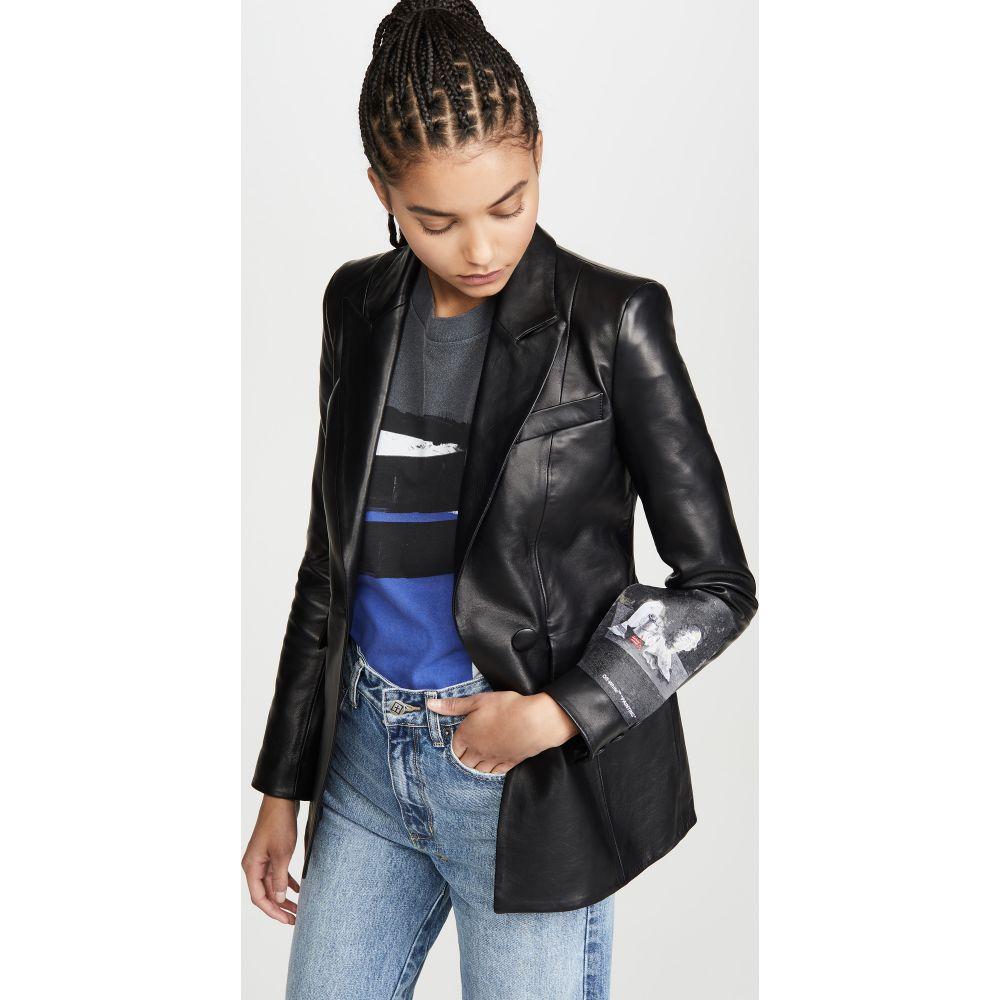 オフホワイト Off-White レディース レザージャケット アウター【Leather Fitted Jacket】Black