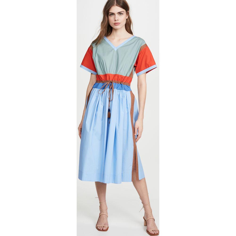 トリー バーチ Tory Burch レディース ワンピース ワンピース・ドレス【Colorblock Poplin Dress】Dark Seafoam