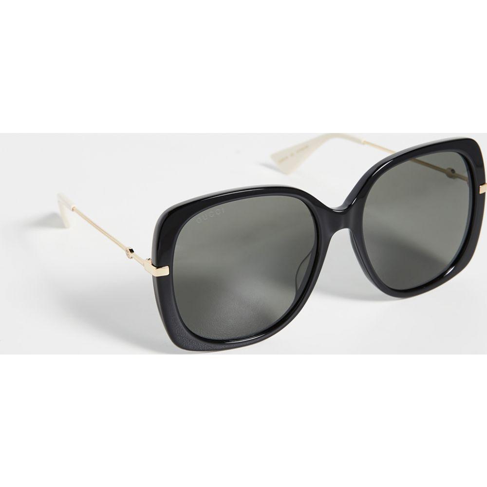 グッチ Gucci レディース メガネ・サングラス スクエアフレーム【Web Lock Soft Square Sunglasses】Black/Grey