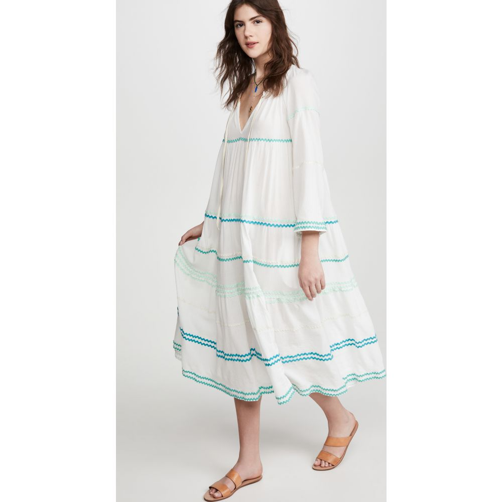 ナインシード 9seed レディース ビーチウェア ワンピース・ドレス 水着・ビーチウェア【Majorca Long Sleeve Cover Up Dress】White w/Blue Lagoon Ricrac