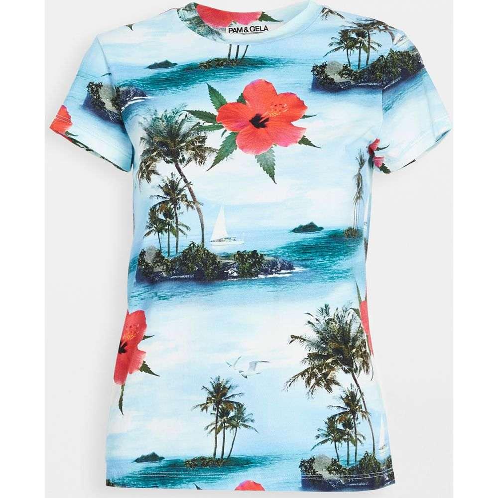 パム&ジェラ Pam & Gela レディース Tシャツ トップス【Aloha Crew Neck Tee】Blue