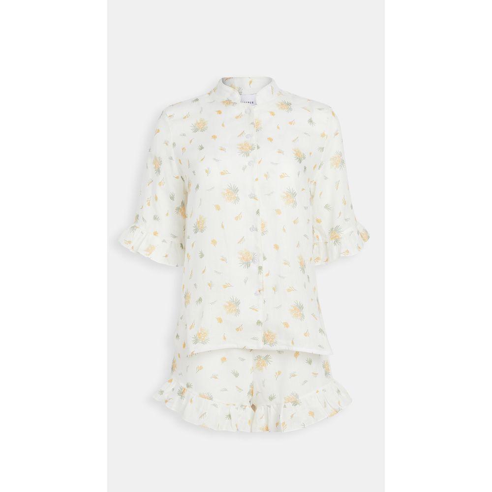 スリーパー Sleeper レディース パジャマ・上下セット インナー・下着【Lounge Linen Suit In Mimosa】White/Yellow