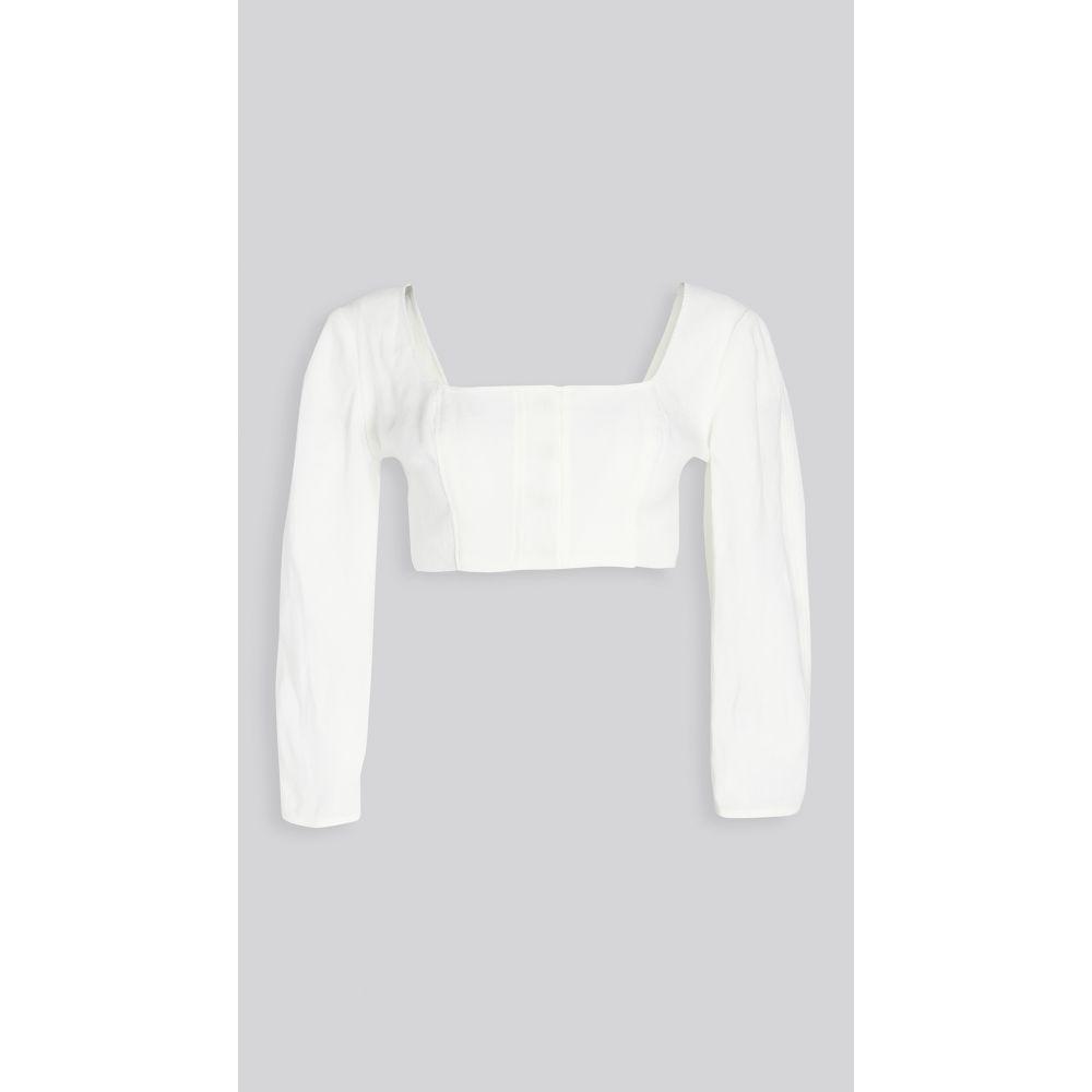 ルカシャ Le Kasha レディース ベアトップ・チューブトップ・クロップド 七分袖 トップス【Jazirat Linen 3/4 Sleeve Crop Blouse】White