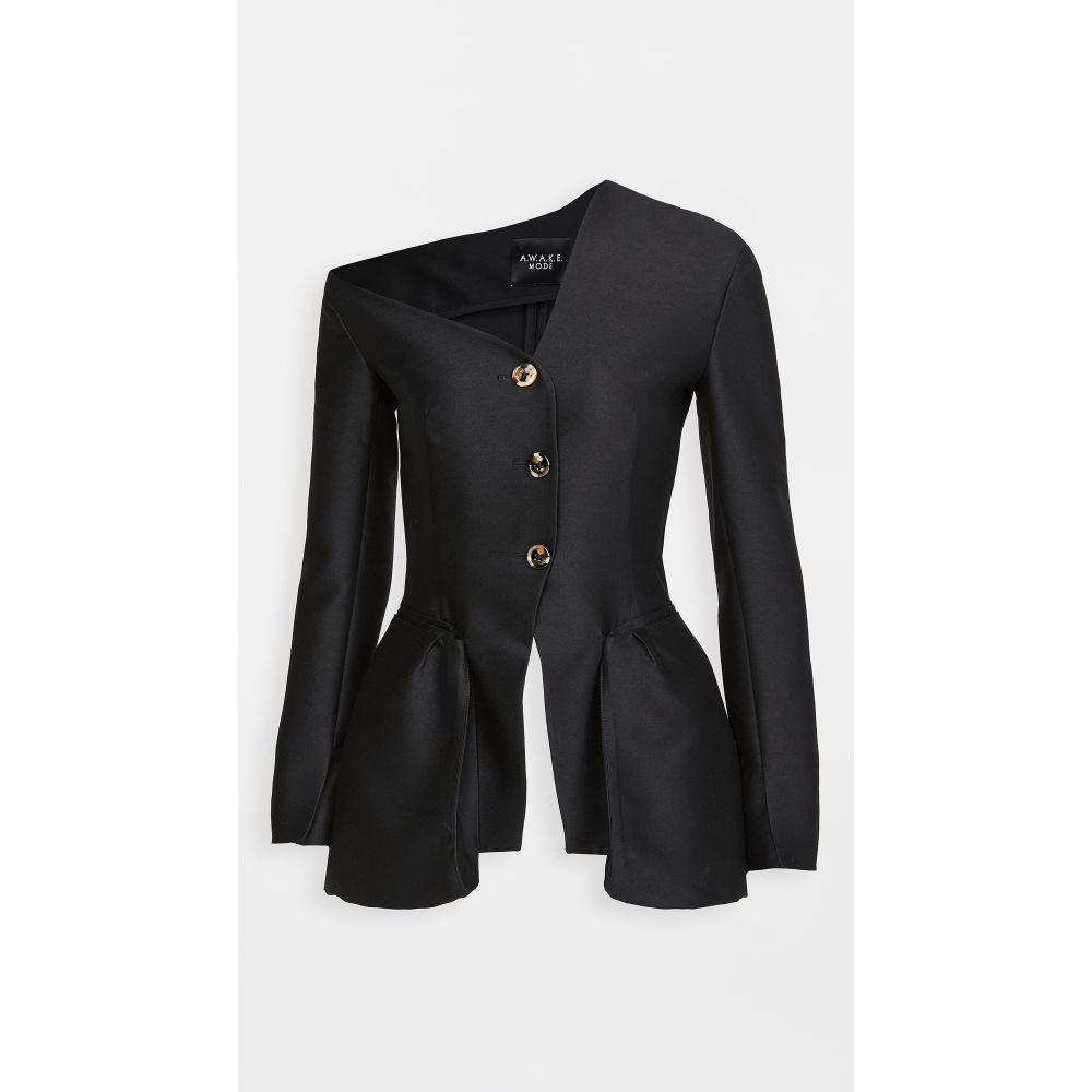 アウェイク モード A.W.A.K.E. MODE レディース ジャケット アウター【Off Shoulder Button Jacket】Black