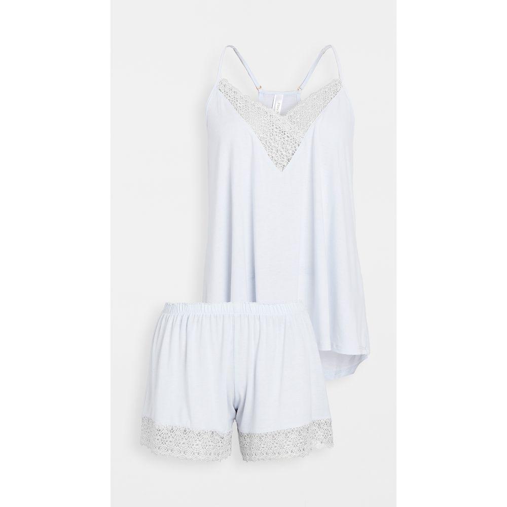 フローラニクルーズ Flora Nikrooz レディース パジャマ・上下セット インナー・下着【Knit Cami & Tap Shorts Pajama Set】Light Blue