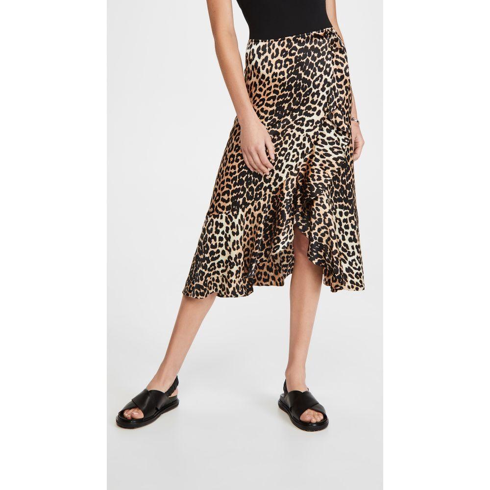 ガニー GANNI レディース スカート 【Silk Stretch Satin Skirt】Leopard