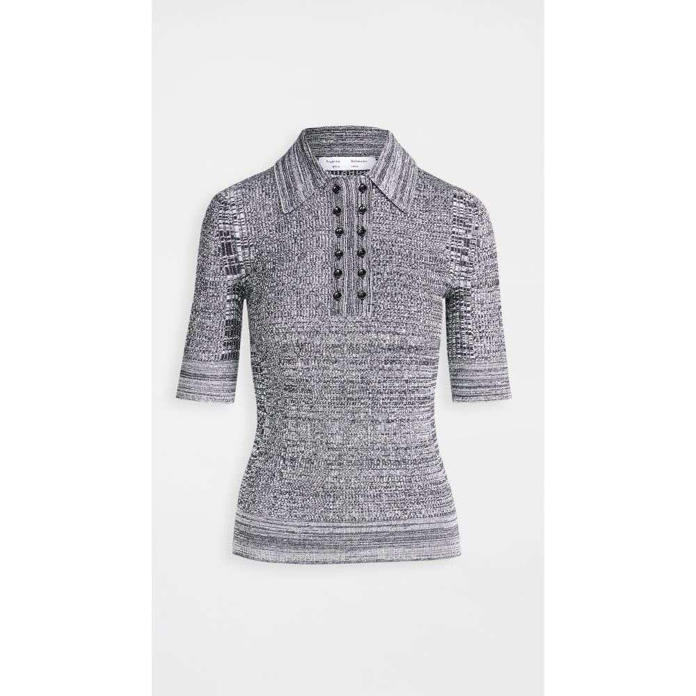 プロエンザ スクーラー ホワイト レーベル Proenza Schouler White Label レディース ポロシャツ トップス【Marl Knit Polo Shirt】Off-White/Black
