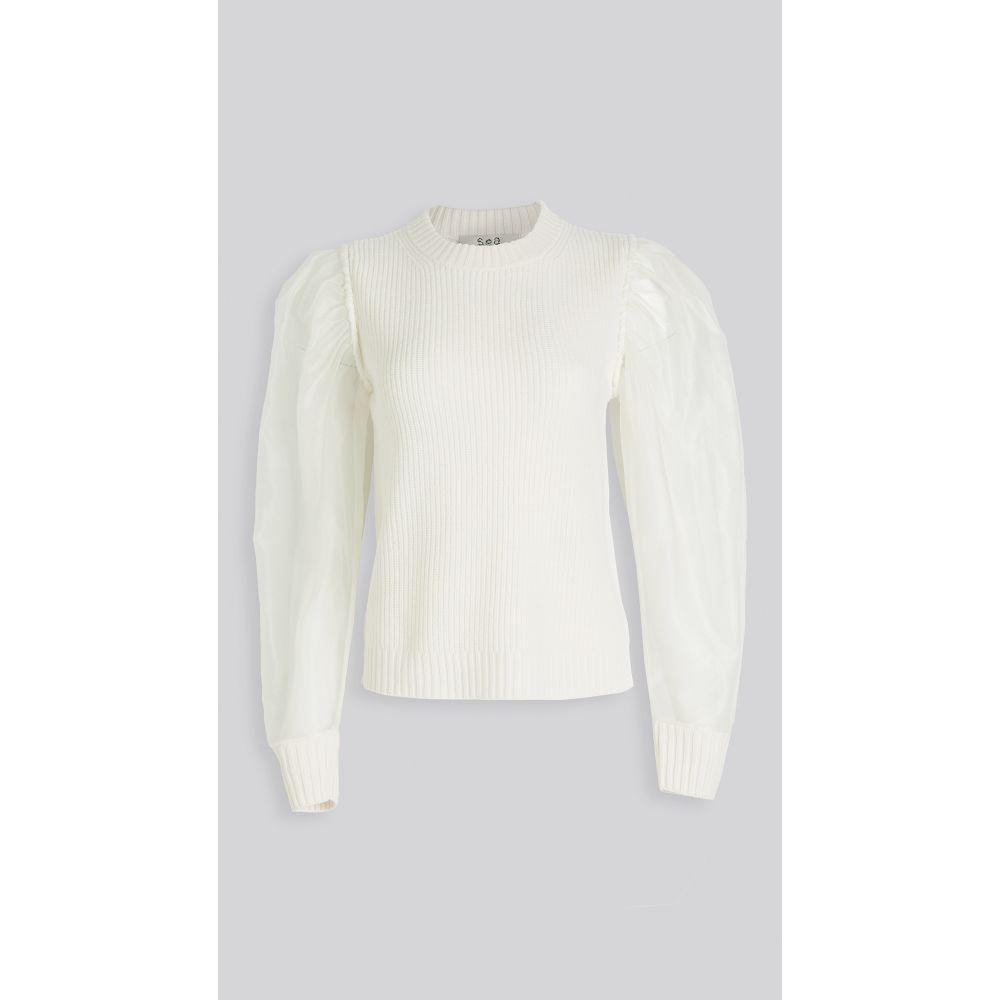 シー Sea レディース ニット・セーター トップス【James Organza Sleeve Knit Top】White