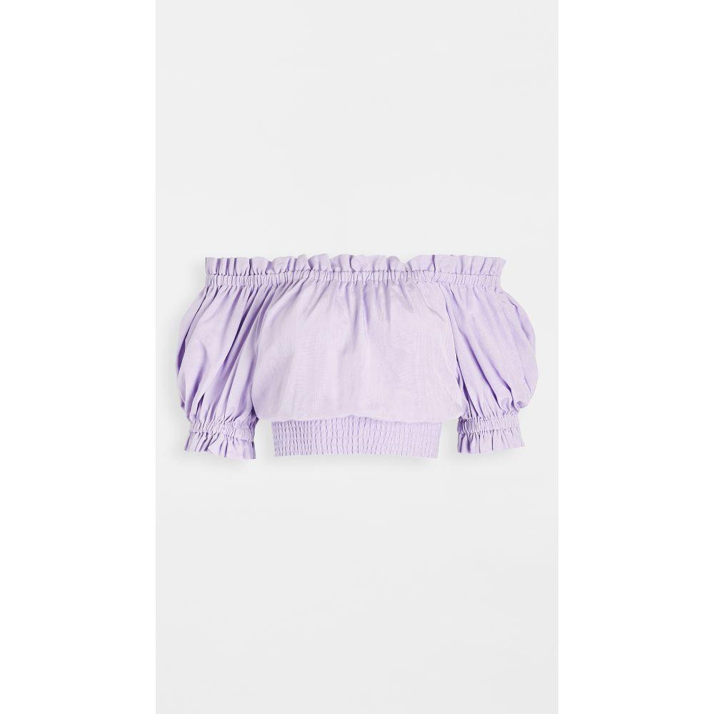 アリス アンド オリビア alice + olivia レディース オフショルダー トップス【Caprina Off Shoulder Smock Top】Lavender