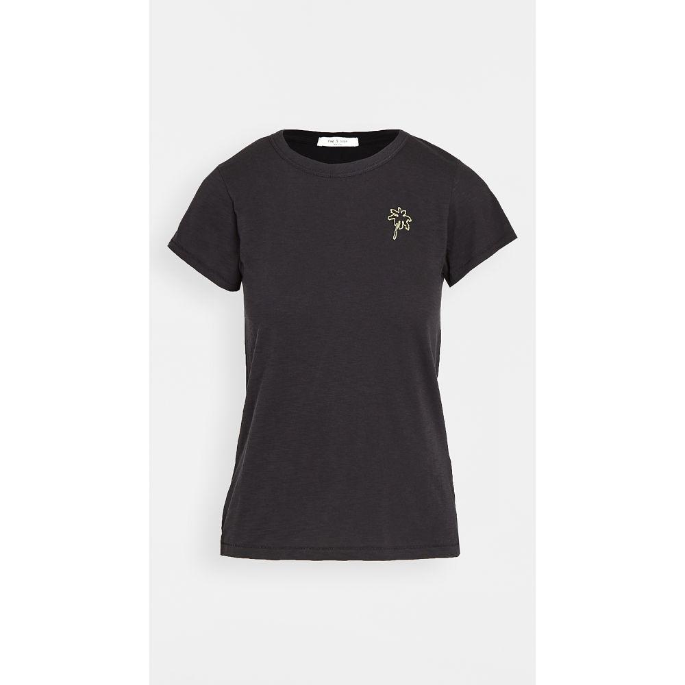 ラグ&ボーン Rag & Bone/JEAN レディース Tシャツ トップス【Palm Tree Embroidered Tee】Black