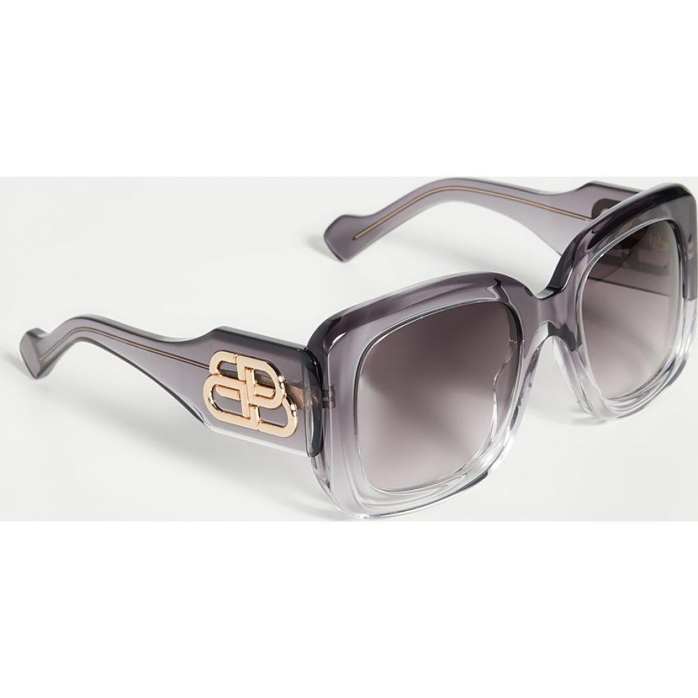 バレンシアガ Balenciaga レディース メガネ・サングラス スクエアフレーム【Paris Square Sunglasses】Gray/Gray