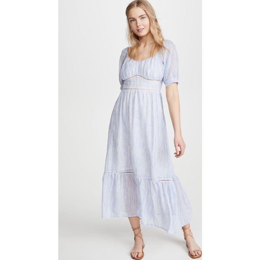 ムーンリバー Moon River レディース ワンピース ミドル丈 ワンピース・ドレス【Scoop Neck Midi Dress】White/Blue Stripe