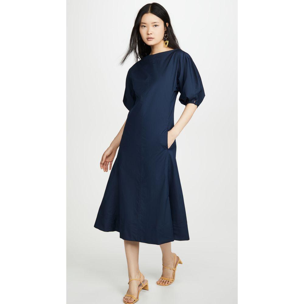 マンサーガブリエル Mansur Gavriel レディース ワンピース ワンピース・ドレス【Ruched Cotton Dress】Blu