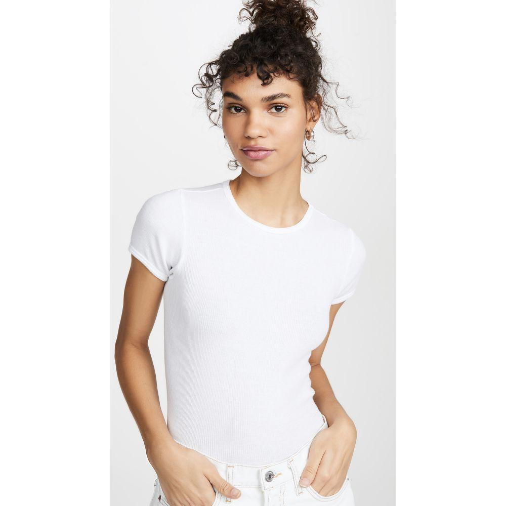 送料無料激安祭 リダン レディース トップス Tシャツ サイズ交換無料 RE DONE White '90s Cap Ribbed SALE Sleeve Tee