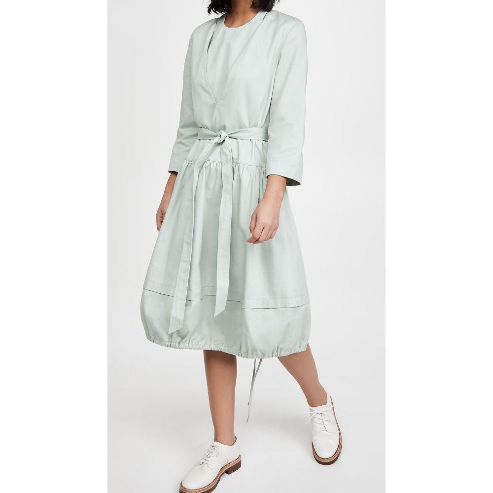 ティビ レディース ワンピース ドレス サイズ交換無料 Tibi Vneck Dress with Bib 日本メーカー新品 Mint Detail and Grey Belt Removable ブランド激安セール会場