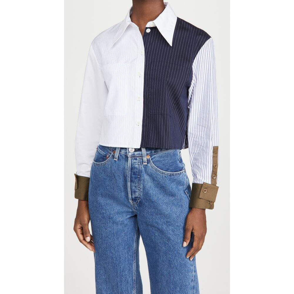 ティビ 輸入 レディース トップス ベアトップ チューブトップ クロップド サイズ交換無料 Cropped Tibi Multi Navy Shirt 無料 Patchwork