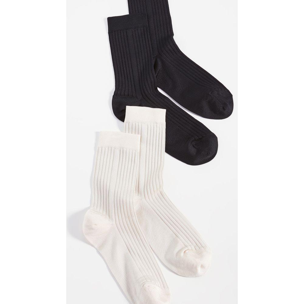 ステムズ レディース インナー 下着 ソックス サイズ交換無料 Stems 2点セット Classic Offering Black ◆高品質 Socks バーゲンセール Rib Ivory Pack 2 -