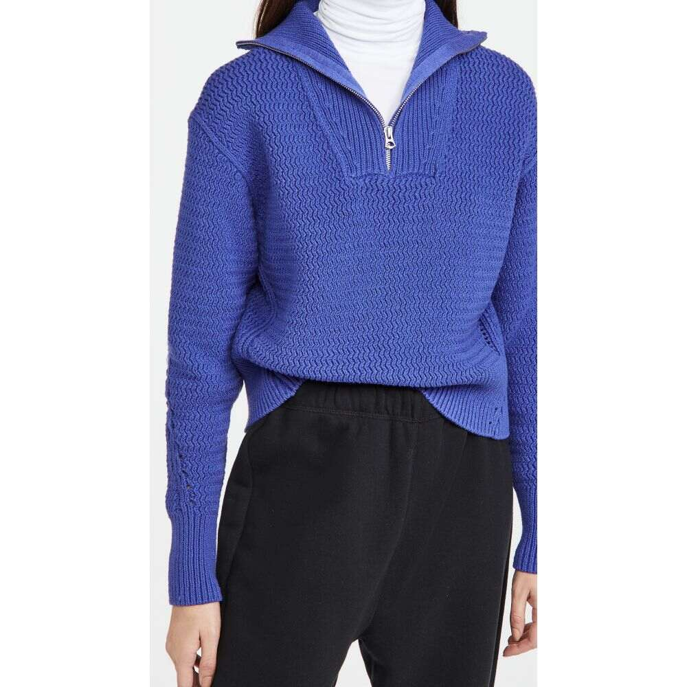 ラグボーン レディース トップス ニット セーター サイズ交換無料 Rag Half メーカー公式ショップ Bone ディスカウント Zip Blue Lena Sweater