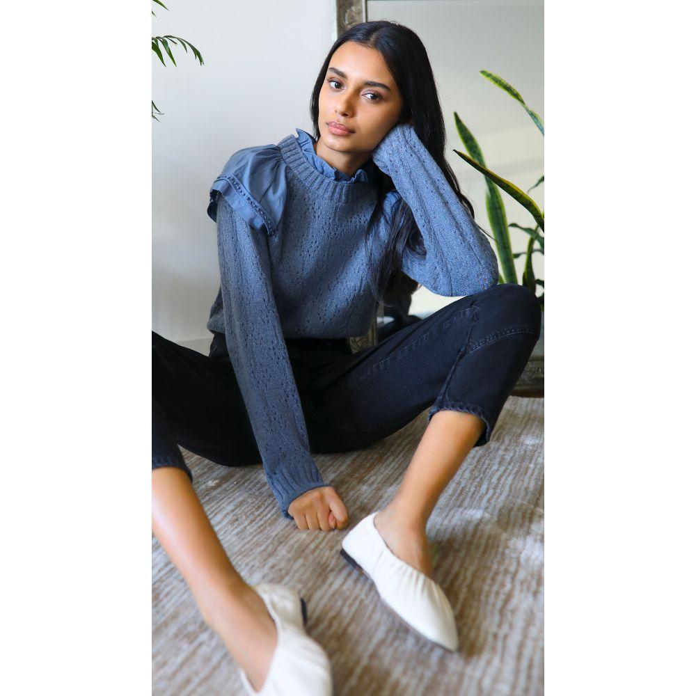 <title>シー レディース トップス ニット セーター サイズ交換無料 Sea 上品 Novia Ruffled Combo Sweater Blue</title>