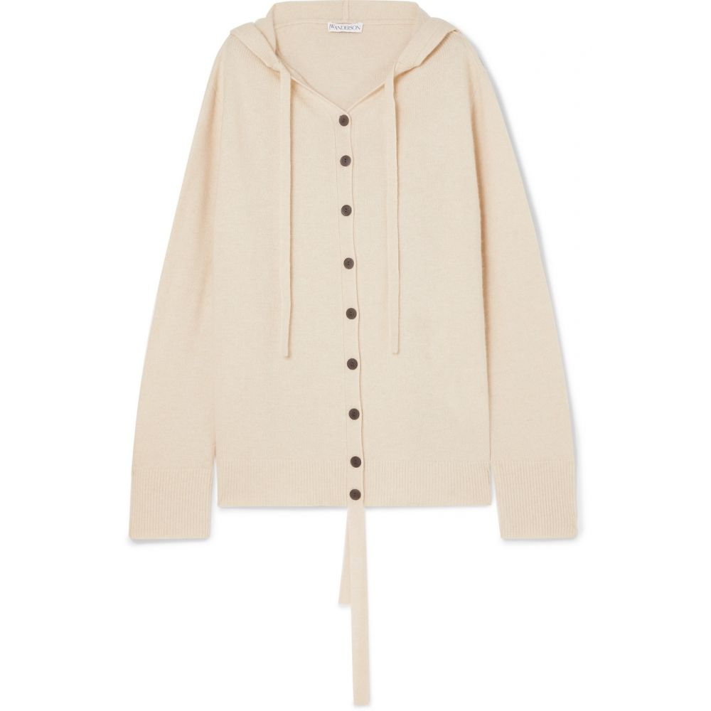 J.W.アンダーソン JW Anderson レディース トップス カーディガン【Oversized hooded wool and cashmere-blend cardigan】Parchment