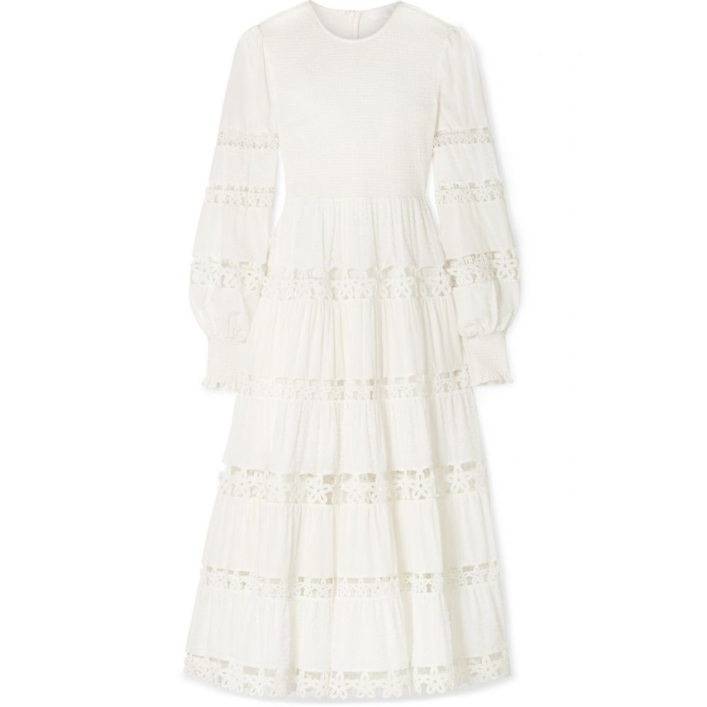 ジマーマン Zimmermann レディース 水着・ビーチウェア ビーチウェア【Primrose Daisy smocked crochet-trimmed fil coupe cotton-voile midi dress】