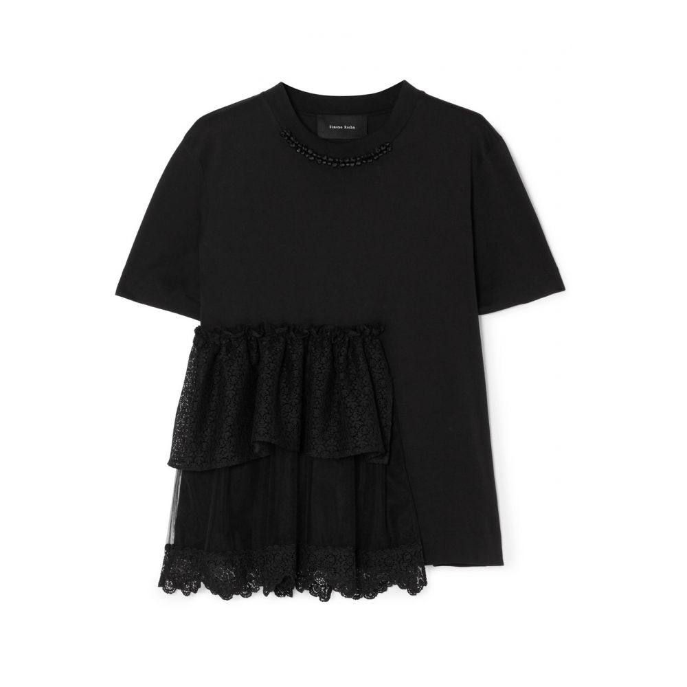 シモーネ ロシャ Simone Rocha レディース トップス Tシャツ【Embellished ruffled lace and tulle-trimmed cotton-jersey T-shirt】