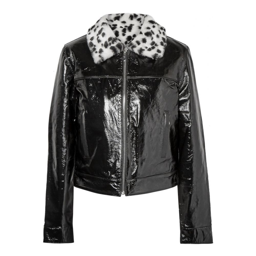 マイティ The Mighty Company レディース レザージャケット アウター【the glencoe leopard-print faux fur-trimmed glossed leather jacket】