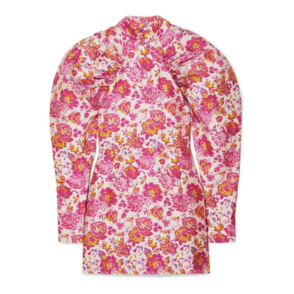 ローテート ROTATE Birger Christensen レディース パーティードレス ミニ丈 ワンピース・ドレス【button-detailed ruched floral-jacquard mini dress】Raspberry/Rose