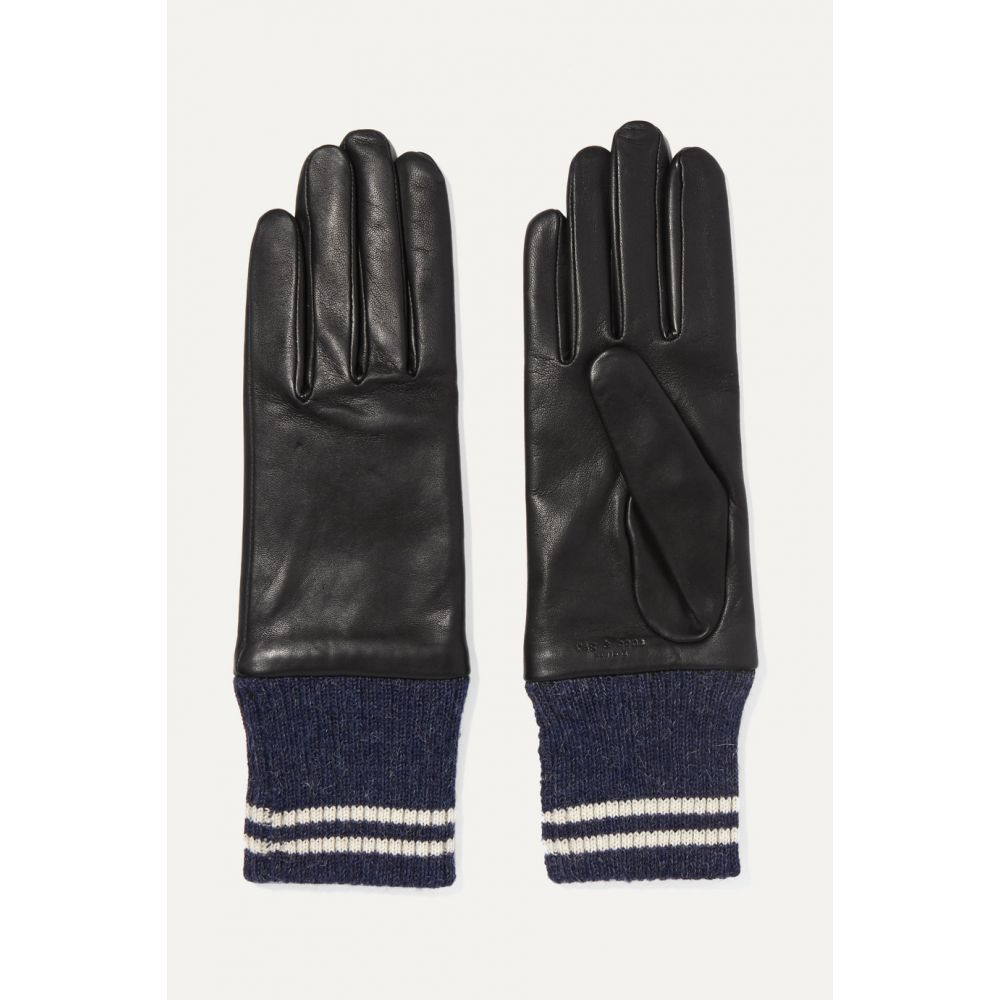 ラグ&ボーン rag & bone レディース 手袋・グローブ 【Striped ribbed alpaca-trimmed leather gloves】