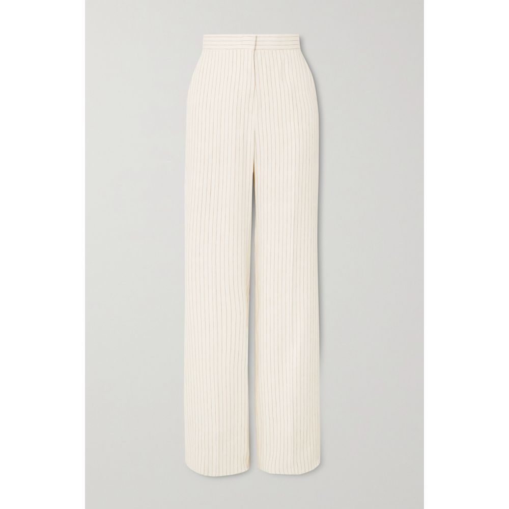 マックスマーラ Max Mara レディース ボトムス・パンツ 【Classe pinstriped linen and silk-blend straight-leg pants】