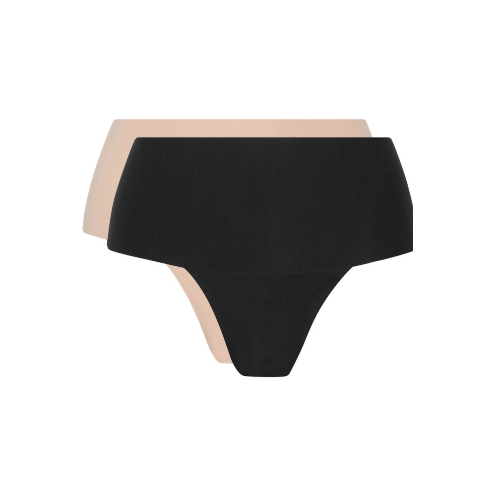 スパンクス レディース インナー・下着 ショーツのみ【Undie-tectable set of two stretch-jersey thongs】Black and Soft Nude