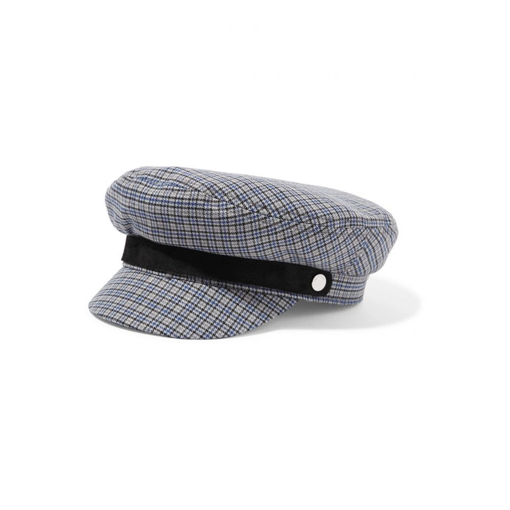 ラグ&ボーン rag & bone レディース 帽子【Fisherman suede-trimmed checked wool-blend tweed cap】