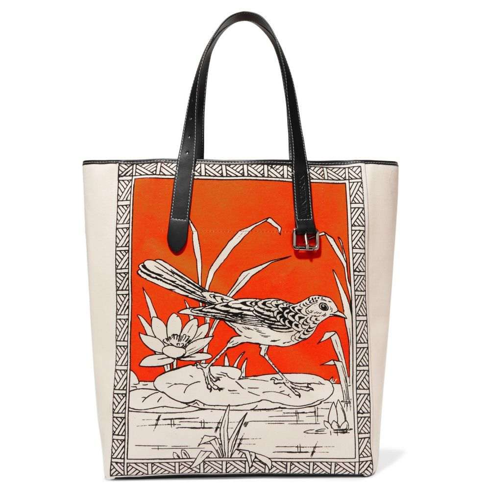 J.W.アンダーソン JW Anderson レディース バッグ トートバッグ【Leather-trimmed printed canvas tote】Tangerine