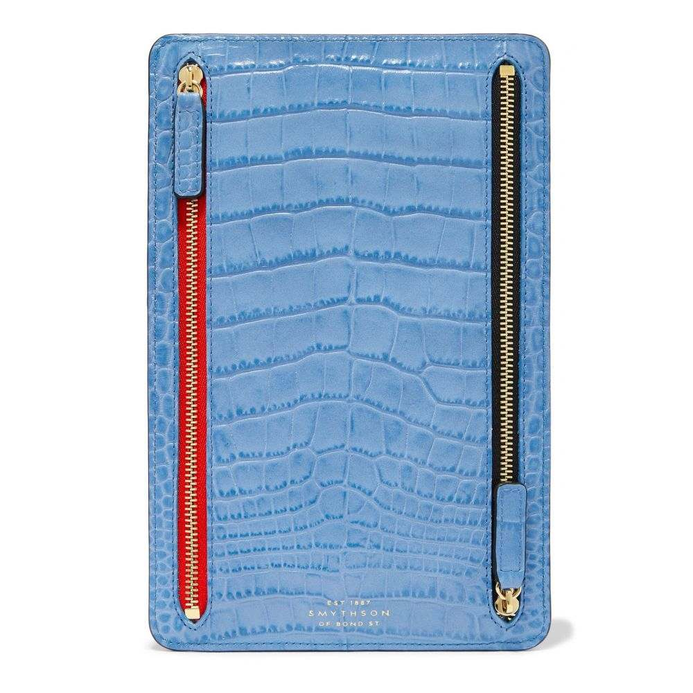 スマイソン Smythson レディース 財布【Mara croc-effect leather wallet】Nile Blue