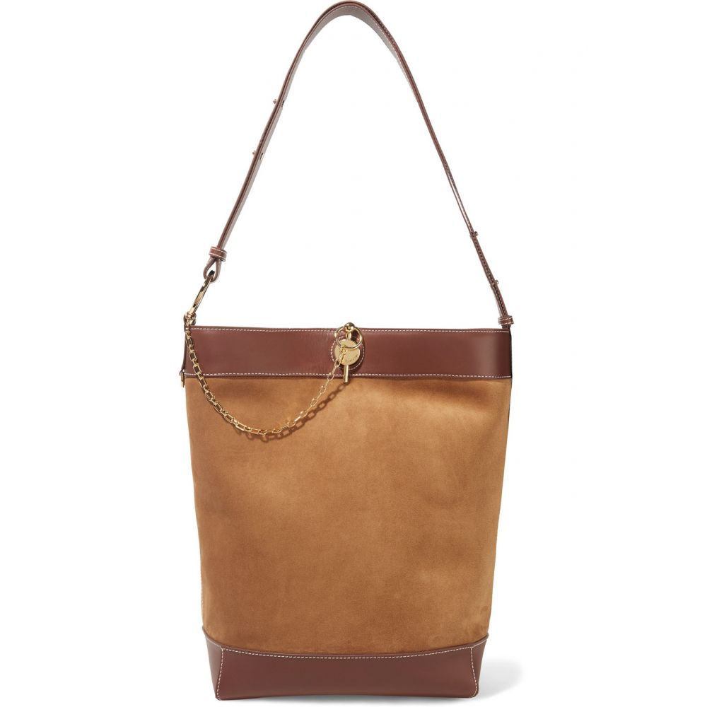 J.W.アンダーソン JW Anderson レディース バッグ トートバッグ【Lock leather-trimmed suede tote】Chestnut