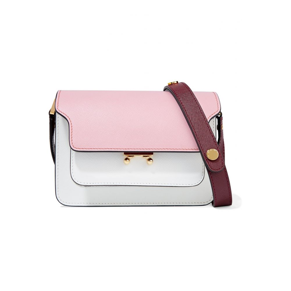 マルニ Marni レディース バッグ ショルダーバッグ【Trunk small color-block textured-leather shoulder bag】Cinder Rose, Limestone and Ruby