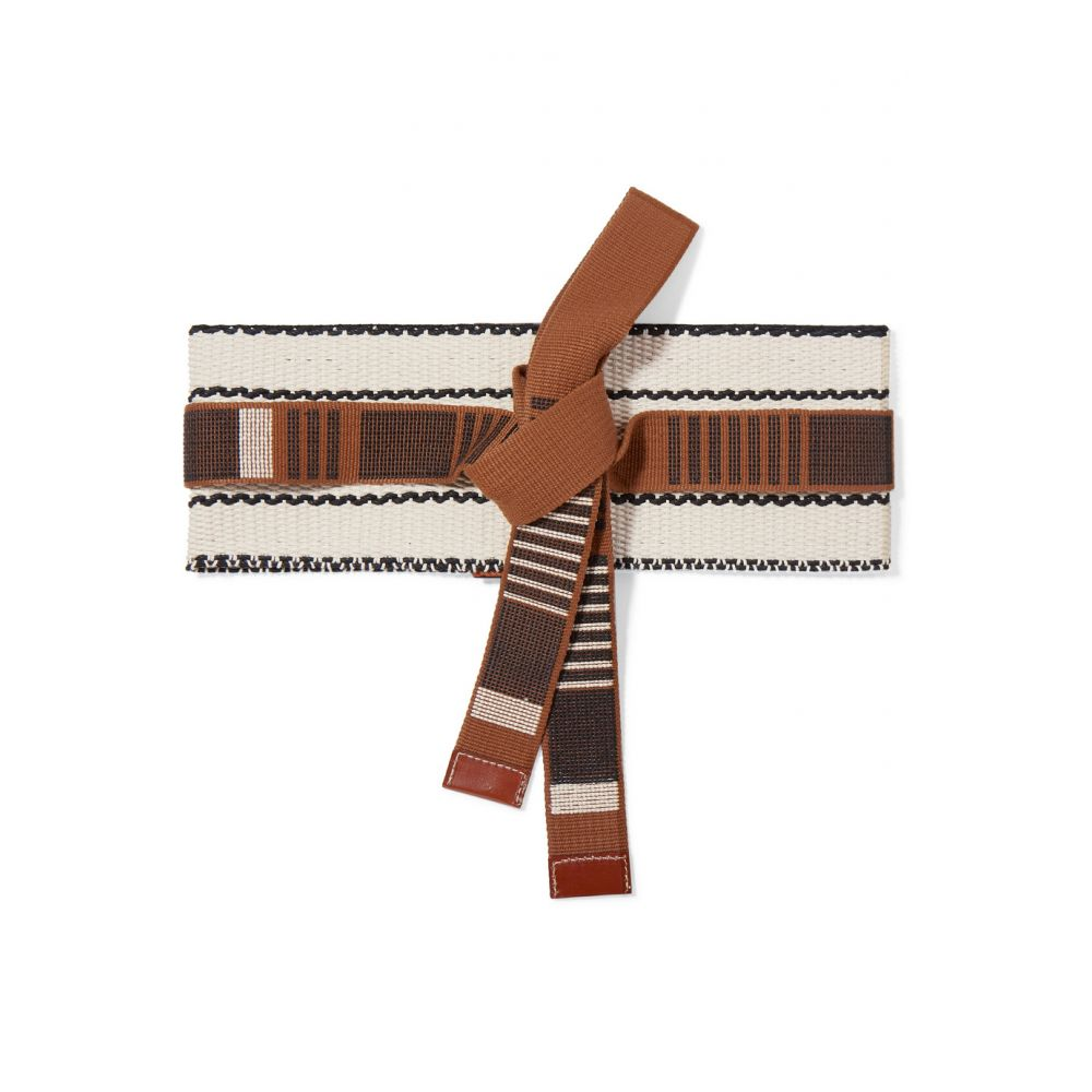 エトロ Etro レディース ベルト【Leather-trimmed woven cotton-canvas belt】