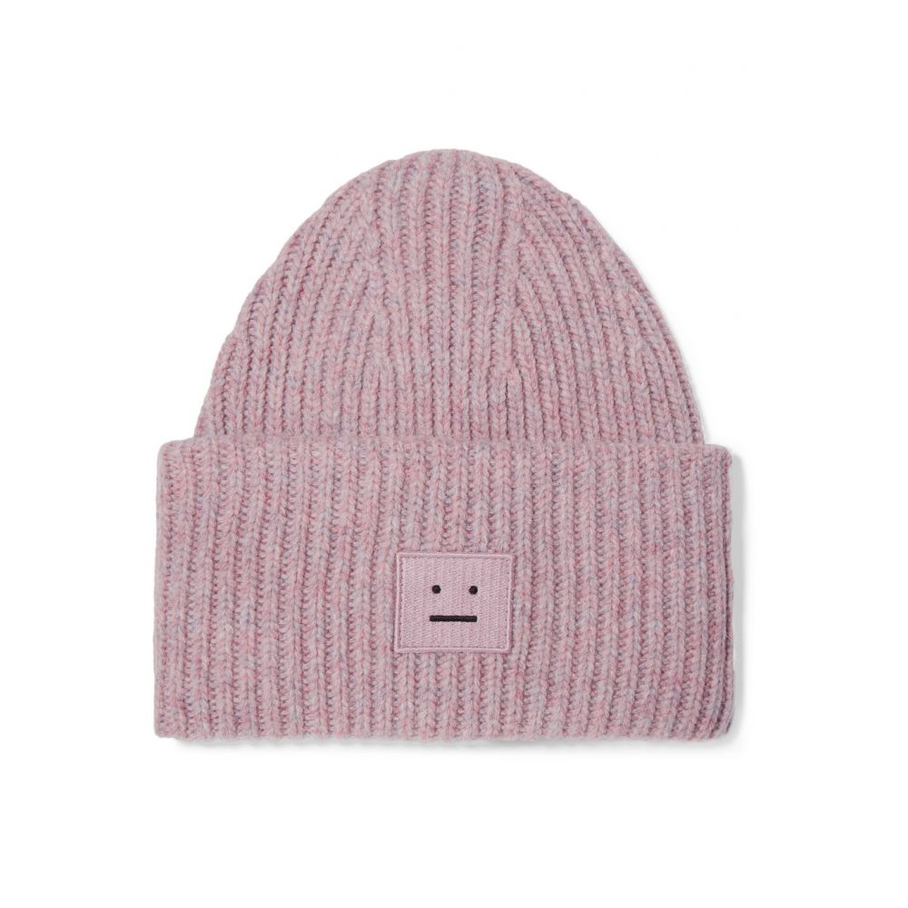アクネ ストゥディオズ Acne Studios レディース 帽子 ニット【Pansy appliqued ribbed wool-blend beanie】Dusty Pink