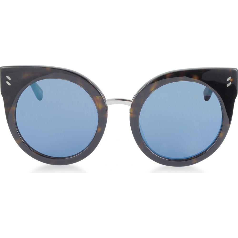 ステラ マッカートニー Stella McCartney レディース メガネ・サングラス ラウンド【SC0036S Round Cat Eye Acetate Sunglasses】Havana/Mirrored Blue