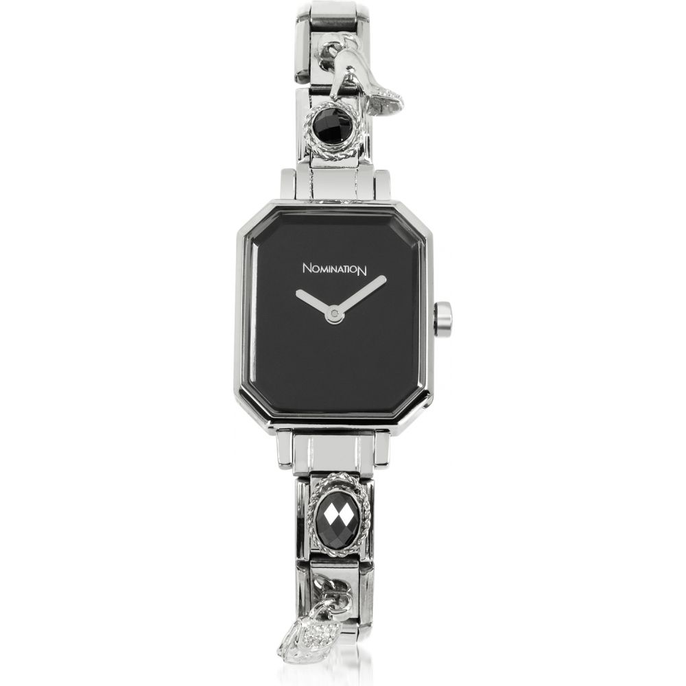 ノミネーション Nomination レディース 腕時計 【Silver Plated Stainless Steel Composable Watch w/Black Dial】Silver